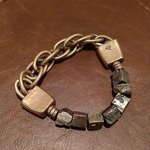 Brass Chain Stone Stretchy Bracelet 3 in